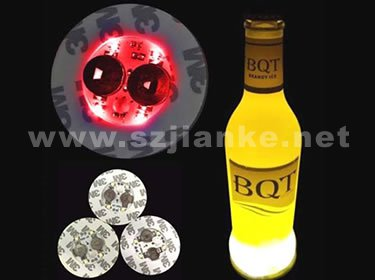 Hot 4 LED Flashing Bottle Coaster Sticker with Logo Printed (4040)