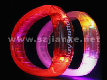 Plastic Flashing LED Bracelet with Logo Print (4011)