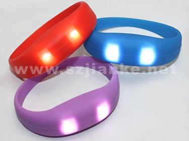 Sound Control LED Silicone Bracelet with Logo Printed (4010)